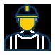 Icone d'un professionnel du solaire avec un casque de chantier